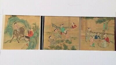 Three Antique Chinese Watercolours On Silk