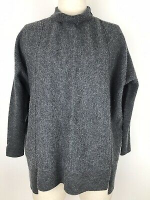 Saba Size 8 Knit Jumper Grey 100% Wool Loose Fit Batwing Long Sleeve