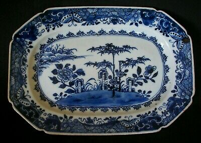 PRETTY 27cm CHINESE 18th C QIANLONG BLUE AND WHITE  PORCELAIN PLATTER DISH VASE