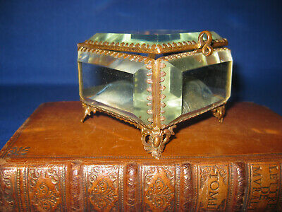 Antique 19th Century French Beveled Ormolu Glass / Brass Jewelery / Trinket Box