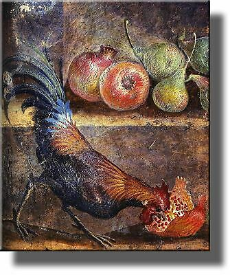 Rooster Cock Picking Pomegranate Seeds Painting on Acrylic , Kitchen Wall Decor,