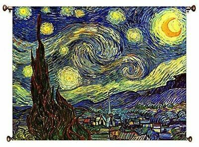Starry Night by Vincent van Gogh Picture on Large Canvas Hung on Copper Rod, Rea