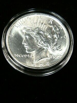 1924 P Peace Silver Dollar  BU Blast White with Great Luster #HC46