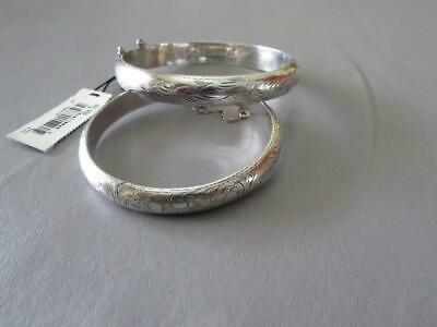 2 Vintage Sterling Silver Bangle Bracelets - Etched design throughout -24.1 gram