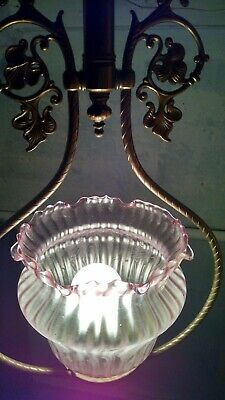 Antique Rewired Ceiling Light Fixture Brass Amethyst Etched Globe Victorian