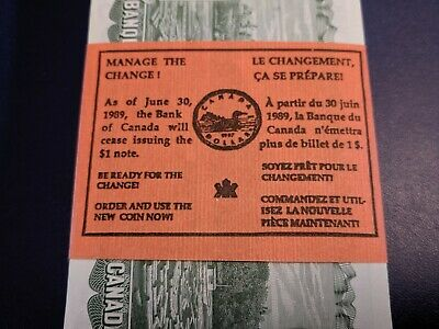 Uncirculated Special Mint Wrap Bundle Of 100 1973 Bank Of Canada 1 Dollar Notes