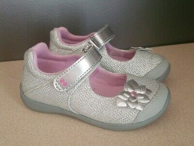 Size 5 Toddler Girls Surprize by Stride Rite Katelyn Mary Jane Shoes Silver