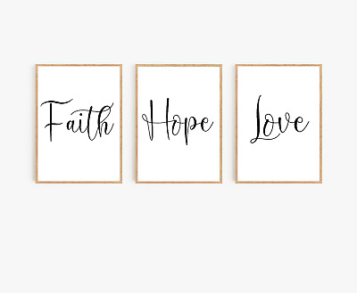 Bedroom wall art Set of 3 - Faith Hope Love - typography prints - home gift