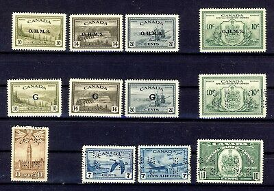 12x Canada G OHMS & Perf-in Stamps O6-7-8 O21-22-23 EO1 +5  Guide Value=$139.00