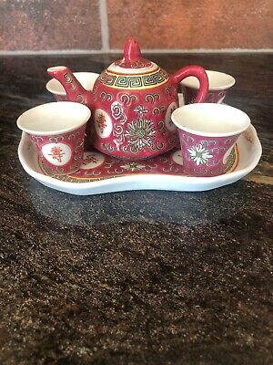 Chinese Miniature Tea Set. Teapot 4 Cups And Tray.