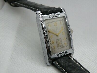 1930 Men`s 2 Tone Elgin Art Deco Men`s ..Nice Dial,New Crystal & Croc Band