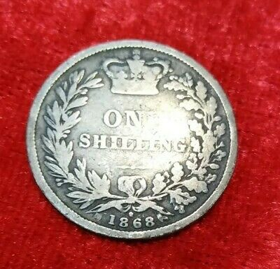 1868 Shilling Queen Victoria Young Head Sterling Silver Nicely Toned low mintage