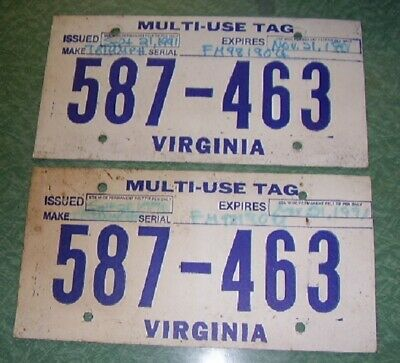 VIRGINIA TEMPORARY TAGS, Dealer Issued, Exp  11-21-91, matched pair 587-463