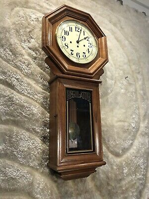 AMAZING VINTAGE GERMANY Ridgeway CHIMES STRIKING WALL CLOCK W PENDULUM WORKING.