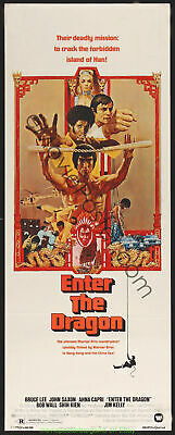 ENTER THE DRAGON MOVIE POSTER BRUCE LEE Australian Daybill Size 13x30 Inch V.F.