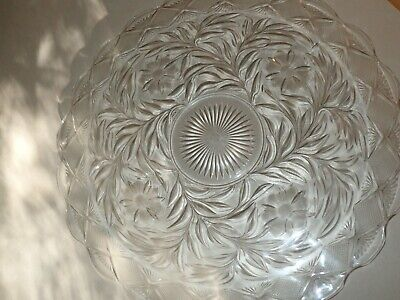 "***21"" WIDE***Vintage Large Clear Cut Glass Serving Tray Round Platter EXQUISITE"