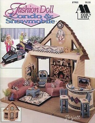 Condo & Snowmobile ~ fits Barbie dolls, Annie's plastic canvas pattern book NEW