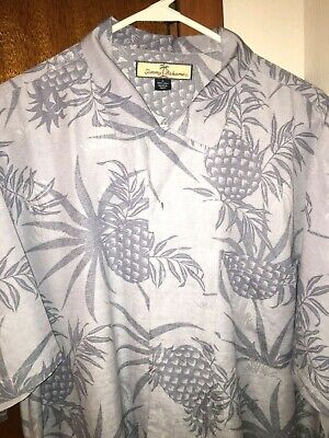 Tommy Bahama Mens Size Large Pineapple Shirt Button Up Silk Short Sleeve