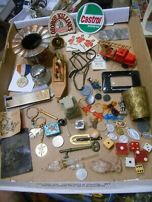 Vintage Junk Drawer Lot,Patches,Dice,Key Chains,Medals,Tin Type Etc