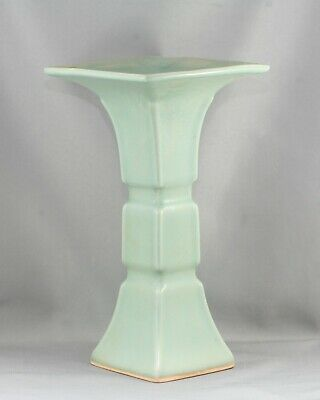 Fantastic Antique Chinese Longquan Green Glaze 龙泉青瓷 Gu Vase Circa 1940s