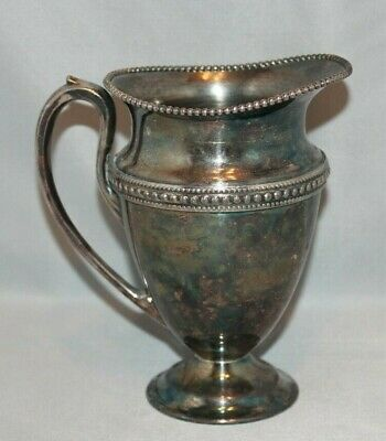 Vintage Glastonbury Silver Plate Beaded Edge Creamer Pitcher