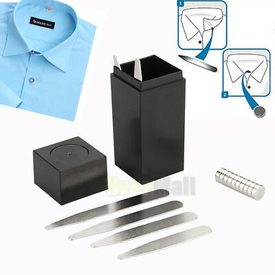 """21Pcs Set (2.5"""") Magnetic Metal Collar Stays With COATED XL Magnets, W/ Box Gift"""