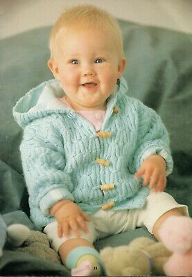 Baby Toddler HOODED JACKET Cardigan Knitting Pattern Copy 4 ply