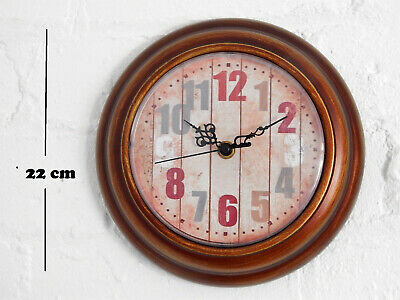 Wall Clock 22cm Round Bronze Metal With Coloured Numbers