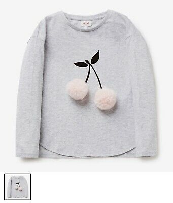 BNWT Seed Heritage Kids Girls Tee Cherry Pom Pom Sweatshirt Grey Cloud 2T $40