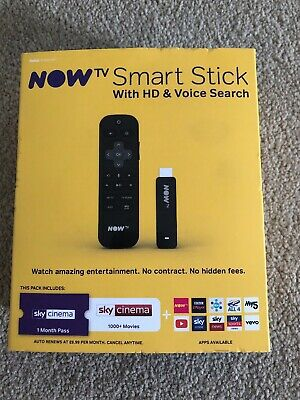 Now TV Smart Stick with HD & Voice Search, Remote & Sky Cinema 1 Month Pass NEW