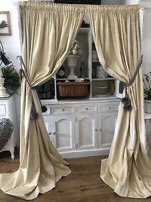 Marks & Spencer's Plain Champagne Gold Cream Large Curtains - 2 Pairs Available