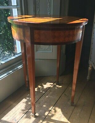 French work or games table with parquetry work,  ormolu mounted feet