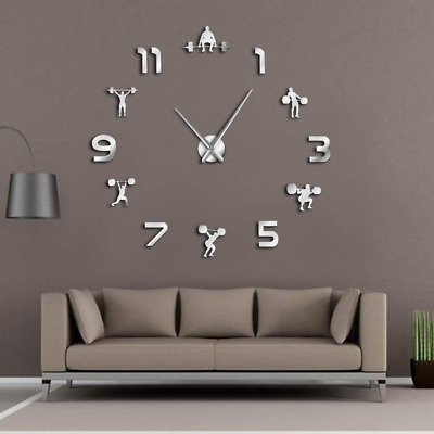 Wall Clock Weightlifting Fitness DIY Giant  PowerLifting Gym Large Wall Sticker