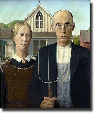 American Gothic Farmer Painting By Grant on Acrylic , Wall Art Decor Ready to Ha
