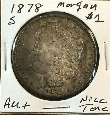 1878-S Morgan Silver Dollar - Awesome Dark tone on About Uncirculated (AU) Coin!