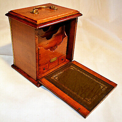 Victorian Oak Stationery Box with Writing Slope & Key, circa 1875