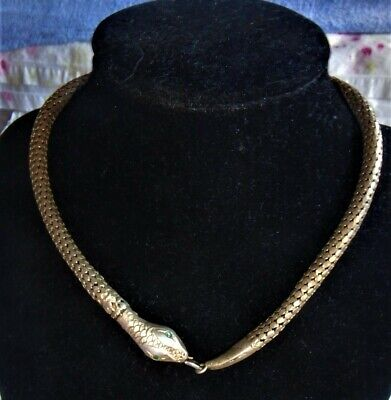 REDUCED~1920's Art Deco Egyptian Revival Sterling Silver Mesh Snake Necklace