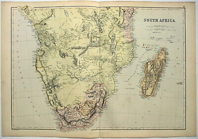 Original 1882 Map of South Africa by Blackie & Son. Antique.
