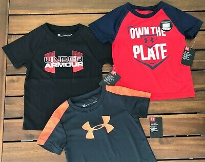 NWT New UA Under Armour Lot of 3 T-Shirts Tops Boys 2T $65 Gray Red Green
