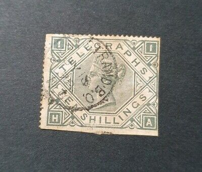 Gb Queen Victoria Sg T16 10S Grey Green Telegraph Used (Perf Fault)
