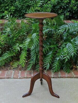"Antique English Oak BARLEY TWIST Pedestal Plant Stand Display Table 33"" Tall"
