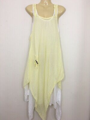 New Ladies Floral Italian Lagenlook Quirky Long Boho Viscose Tunic Dress 2 in 1