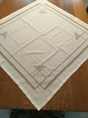 "Antique Victorian CutWork Cotton Linen White Table Topper, 32"" x 33"""