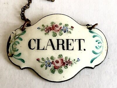 Rare Fine Antique Enamel Decanter Label Tag 18th/19th C Hand Painted Claret