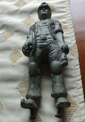 Unusual Extremely  Heavy Cast Lead Coal Miner Figurine Salvage Scrap over 2kg