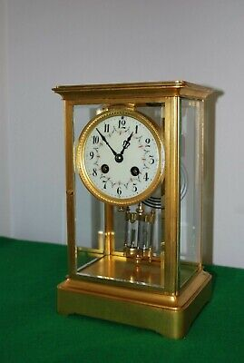 Victorian French Four Glass Mantle Clock