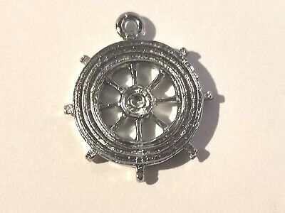 Silver Tone Ships Wheel Charm - Metal Detecting Find