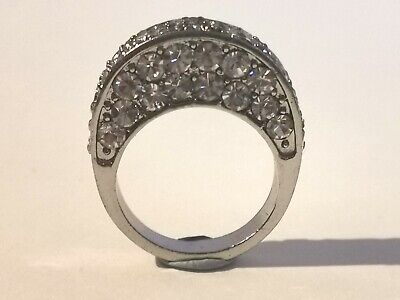 Beautiful Silver Tone Clear Stone Ring - Metal Detecting Find