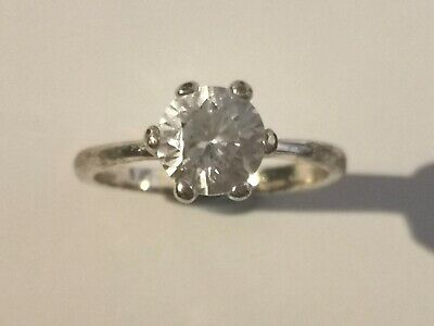 Pretty Silver Tone Solitaire Ring - Metal Detecting Find