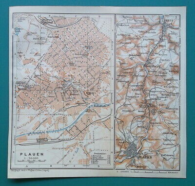 GERMANY Plauen City Town Plan & Environs Umgebung - 1912 MAP Baedeker
